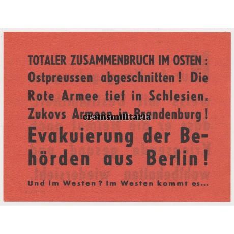 Allied propaganda leaflet - Evacuation of Berlin