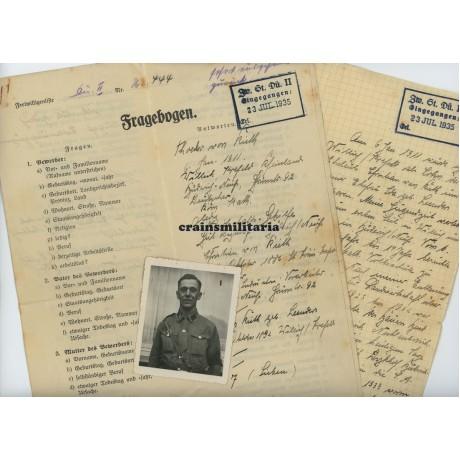 Wehrmacht application form, Dutch descent, SA