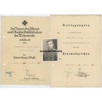 Gebirgspionier award document & photo grouping