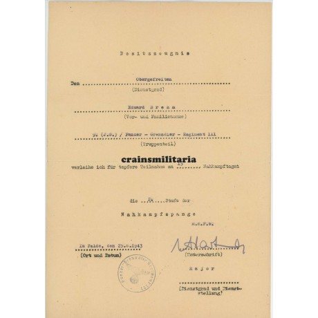 11.PD Nahkampfspange award doc with Nahkampftage list