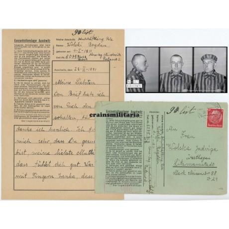 Concentration camp letter KZ Auschwitz, Neuengamme victim