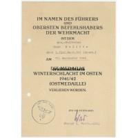 Ostmedaille document Croatian volunteer