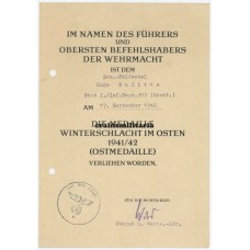 Ostmedaille document Croatian volunteer