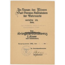 Eduard Wagner signed KVK2 document