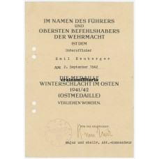 Ostmedaille document to propaganda soldier
