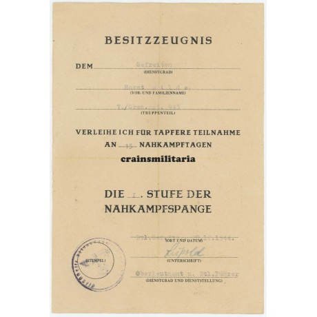 Italy Nahkampfspange & MIA letter 278.ID