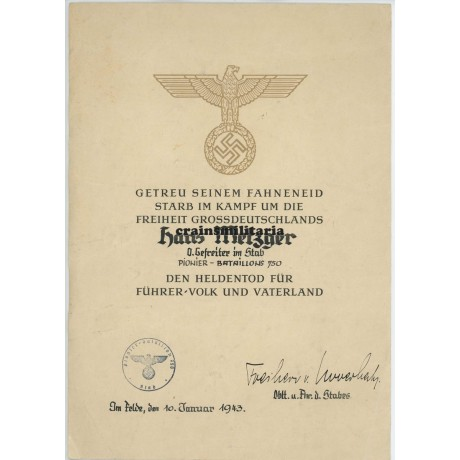 Pi.Btl.750 Heldentod document with photos