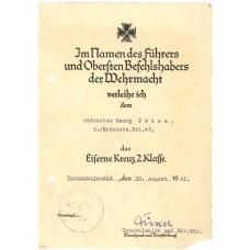 13.Pz.Div. Kradmelder EK2 Document