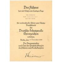 Schutzwall-Ehrenzeichen (Westwall) award document