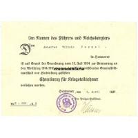 Ehrenkreuz für Kriegsteilnehmer document