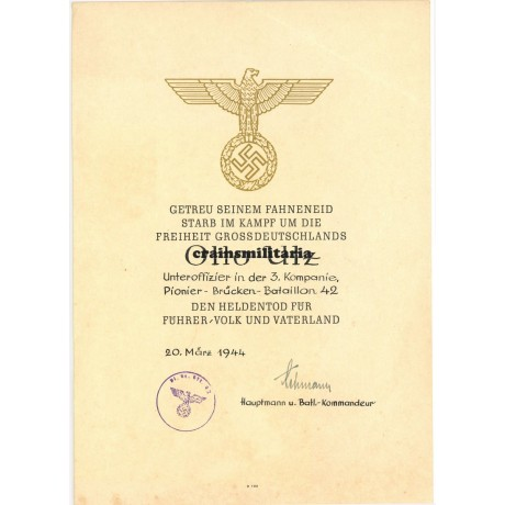 Heldentod document, Russia 1941 pioneer