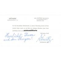 Karl Dönitz postwar signed appreciation card