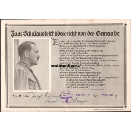 School certificate with Hitler portrait - Eggstetten 1941