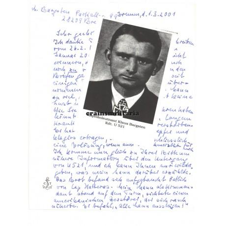 Uboot captain Klaus Bargsten's widow letter
