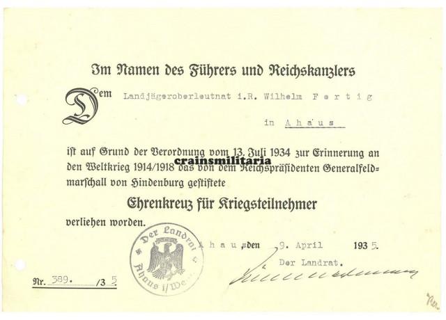 Ehrenkreuz für Kriegsteilnehmer citation