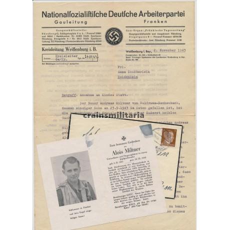 ***SOLD*** JG2 Normandy KIA pilot death card with NSDAP letter