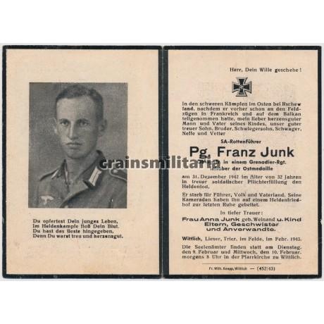 SA Rottenführer death card