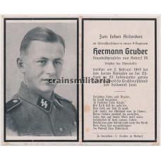 SS Unterscharführer death card