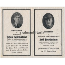 SS Panzergrenadier brothers death card