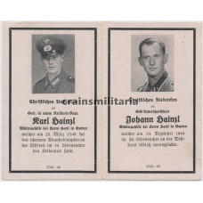 SS Western Front death card - brothers