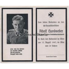 SS Zugführer death card - from Dachau