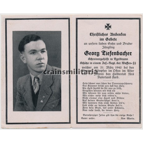 SS Infanterie death card 1942