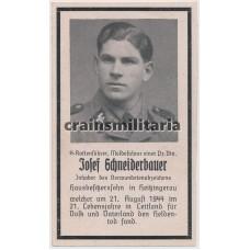 SS Panzer death card - Latvia 1944