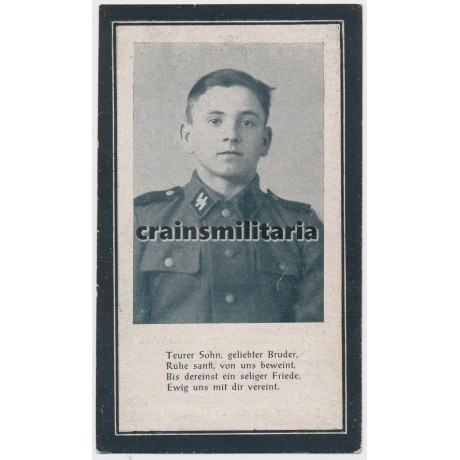 SS Grenadier death card