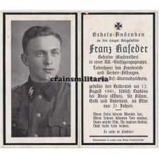 SS Deutschland Kradmelder death card