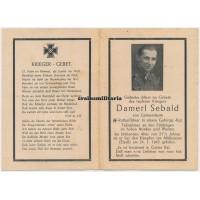 SS Gebirgsjäger death card, France 1945