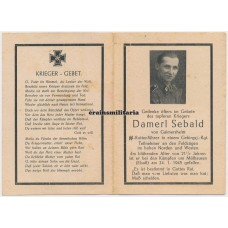 SS Gebirgsjäger death card, France 1945