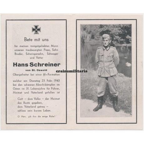 SS Polizei death card - Leningrad 1943
