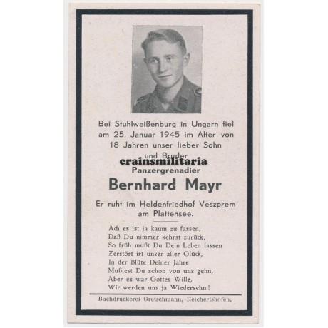 SS Panzergrenadier death card - Hungary 1945