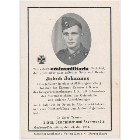 Death card with skull insignia