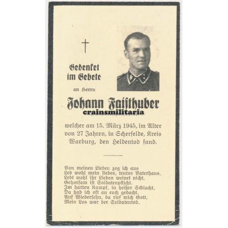 SS Death card - Wewelsburg 1945