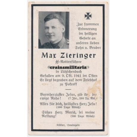 SS Deutschland Death card