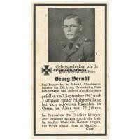 SS Unterscharführer death card - CCCiB