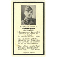 SS Panzer death card - Latvia 1944