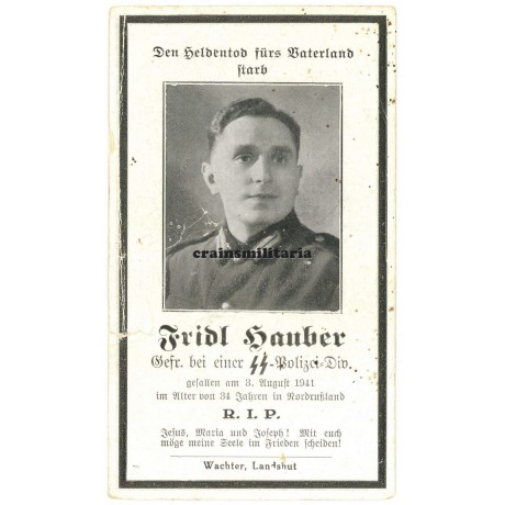 SS Polizei Death card - Russia 1941
