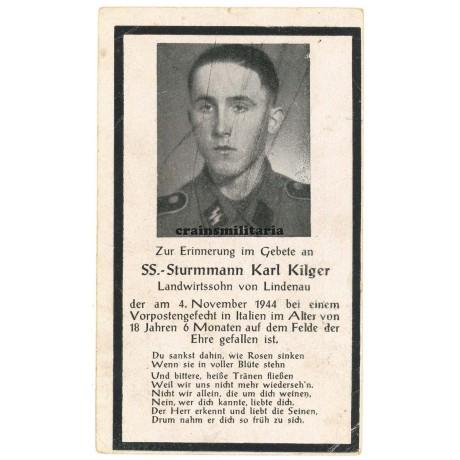 SS Death card Italy 1944