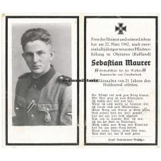 SS Das Reich death card - Russia 1942