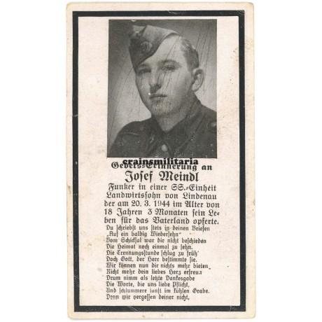 Death card SS Funker - Hungary 1944
