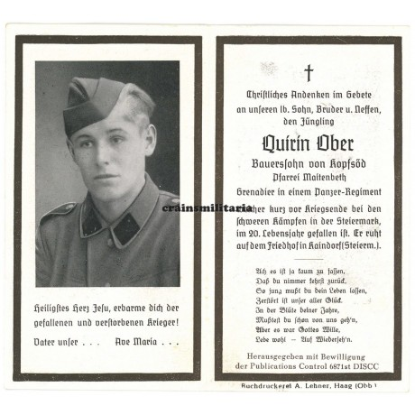 SS Panzer death card - Austria 1945
