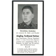SS Death card - Belgium 1944