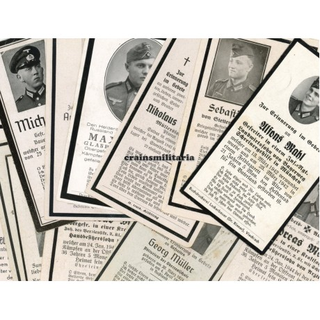 Lot of 100 German death cards