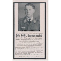 Fallschirmjäger Normandy death card