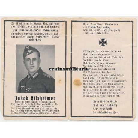 Grossdeutschland death card