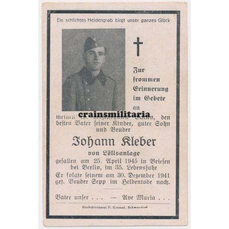 Death card Berlin 1945