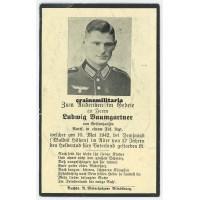 SS Death card Demjansk 1942