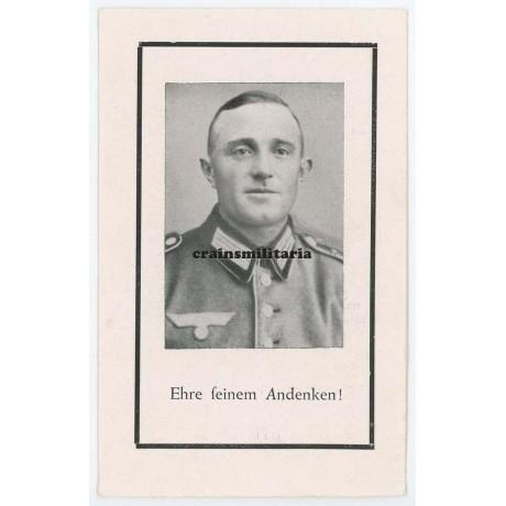 France 1944 death card, 11.Pz.Div.